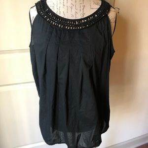 Loft black sleeveless top lattice neckline